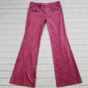 Nanette Lepore Pink Bow Corduroy Pants